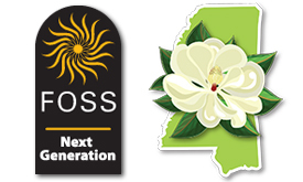 FOSS Next Generation logo and Mississippi state flag