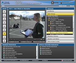 Screenshot of Grade Level Video and Text Resources