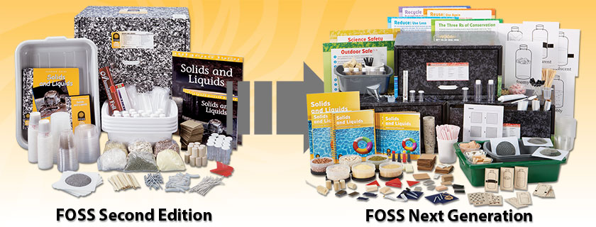 FOSS Second Edition Solids and Liquids module and FOSS Next Generation Solids and Liquids module on a yellow sunburst background