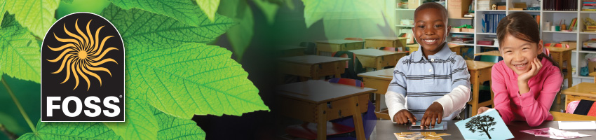 Header image featuring the FOSS logo in front of a close-up of some leaves in the left half of the image and two students in a classroom on the right