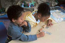 Two students working on an activity