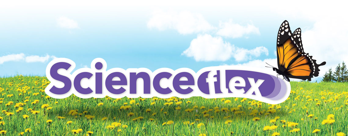 ScienceFLEX logo and butterfly in a field of flowers on a sunny day