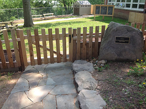 The entrance to the completed outdoor area at Abrams Hebrew Academy.