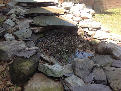 The completed water feature.