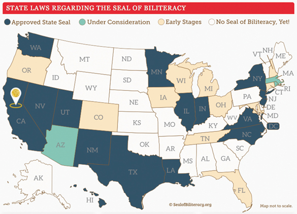 MAP: State laws regarding the seal of biliteracy