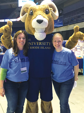 Science expo attendees and URI's mascot