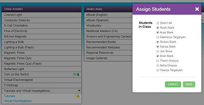 Screenshot: Assigning Students