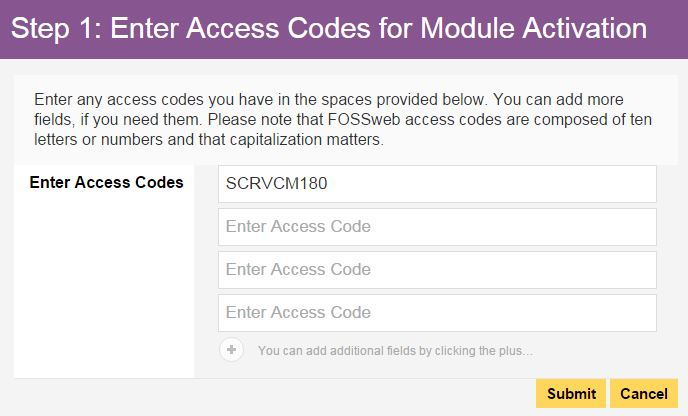 Screenshot: Enter Access Codes
