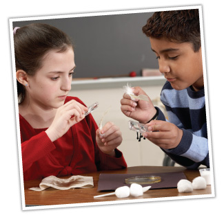Female and male young student conducting a science experiment