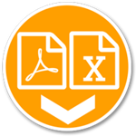 orange circle with PDF and Excel file icons icon